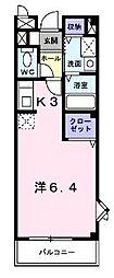 香川県坂出市駒止町2丁目の賃貸アパートの間取り