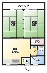 沖縄都市モノレール 壺川駅 徒歩30分の賃貸アパート 3階2DKの間取り