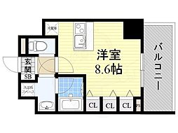 JR大阪環状線 福島駅 徒歩7分の賃貸マンション 12階ワンルームの間取り