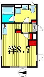 都営新宿線 菊川駅 徒歩5分の賃貸マンション 4階ワンルームの間取り