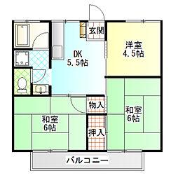 香川ハイツ[201号室]の間取り