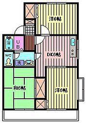 埼玉県さいたま市緑区三室の賃貸アパートの間取り