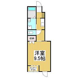 JR篠ノ井線 広丘駅 徒歩26分の賃貸アパート 1階1Kの間取り