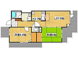 ラ・トゥール六甲W棟(分譲) 2階2LDKの間取り