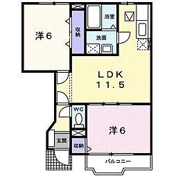 サンライズ渋沢I[0102号室]の間取り