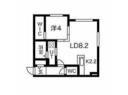 リヒトラーレ円山 3階1LDKの間取り