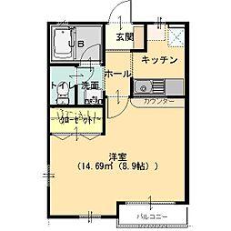 栃木県足利市朝倉町3丁目の賃貸アパートの間取り