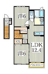 ハミングヒルズB[2階]の間取り