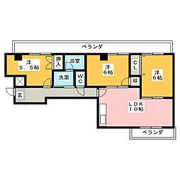 愛知県名古屋市西区比良1の賃貸マンションの間取り