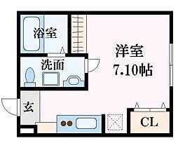 広島電鉄6系統 舟入南駅 徒歩10分の賃貸アパート 2階ワンルームの間取り