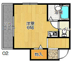 JR片町線(学研都市線) 忍ヶ丘駅 徒歩4分の賃貸マンション 3階ワンルームの間取り