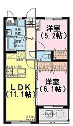 宮崎県都城市南横市町の賃貸マンションの間取り