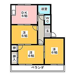 タウニィ高美[1階]の間取り