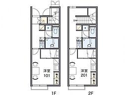 レオパレスグリーンフィールド2[1階]の間取り
