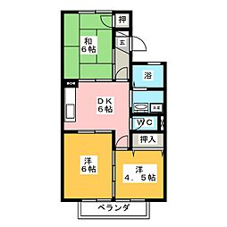 ARIES10 A棟B棟[2階]の間取り