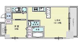 Osaka Metro御堂筋線 西中島南方駅 徒歩2分の賃貸マンション 11階1LDKの間取り