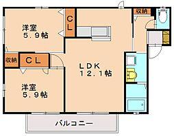 アベニールKHS[2階]の間取り