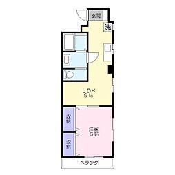 マリナーズプラザ東蒔田[2階]の間取り