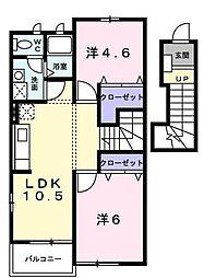 東京都昭島市田中町2丁目の賃貸アパートの間取り