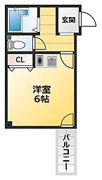 ナニワ3番館 4階ワンルームの間取り