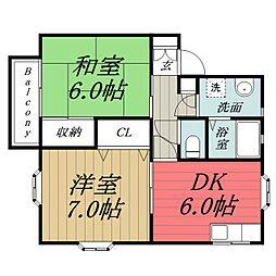 千葉県千葉市緑区誉田町3丁目の賃貸アパートの間取り