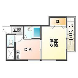 大阪府大阪市平野区背戸口4丁目の賃貸マンションの間取り