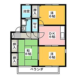 ノーウエアハイツ B[1階]の間取り