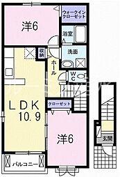 兵庫県加東市下滝野4丁目の賃貸アパートの間取り