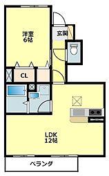 名鉄西尾線 福地駅 3.3kmの賃貸アパート 1階1LDKの間取り