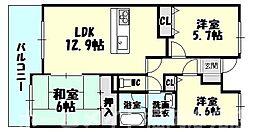福岡県糟屋郡須惠町大字旅石の賃貸マンションの間取り