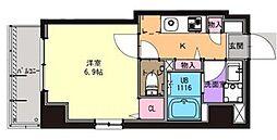 京急本線 京急川崎駅 徒歩9分の賃貸マンション 3階1Kの間取り