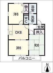 ハイカムールひまわり[2階]の間取り