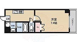南海高野線 堺東駅 徒歩9分の賃貸マンション 7階1Kの間取り