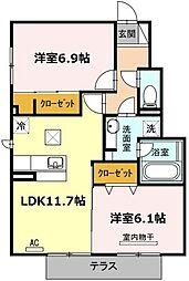 愛知県名古屋市北区如意4丁目の賃貸アパートの間取り