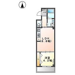堺市堺区中三国ヶ丘町賃貸マンション新築工事 3階1LDKの間取り