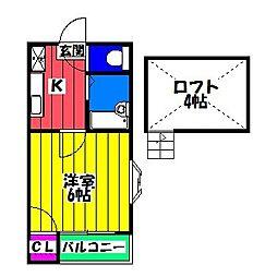 プチメゾン南福岡[2階]の間取り