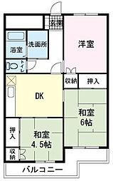 マンション桂A[0203号室]の間取り