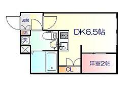 JR仙山線 東北福祉大前駅 徒歩18分の賃貸マンション 5階1DKの間取り