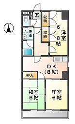 愛知県清須市西枇杷島町花咲の賃貸マンションの間取り