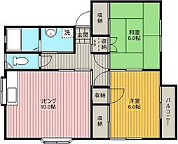 浅倉コーポ[202号室]の間取り