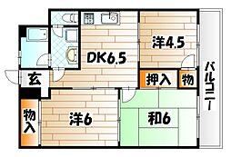 エステート井堀[4階]の間取り