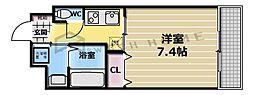 大阪府東大阪市長堂2丁目の賃貸マンションの間取り