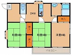 コーポ浅井2号棟[202号室]の間取り