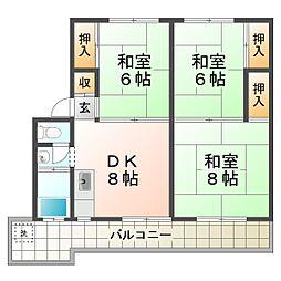 兵庫県神戸市垂水区塩屋台2丁目の賃貸マンションの間取り