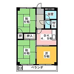 第1カザー後藤[3階]の間取り