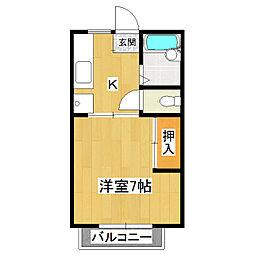 ウエストカーサB[2階]の間取り