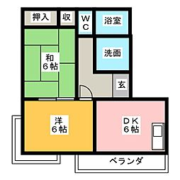 横山ハイツB[2階]の間取り