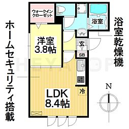 愛知県名古屋市南区道徳北町1丁目の賃貸アパートの間取り