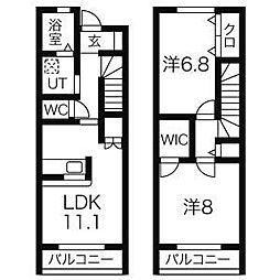 仙台市営南北線 北四番丁駅 徒歩10分の賃貸アパート 2階2LDKの間取り