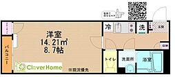 クレイノ桜ソレイユ 1階1Kの間取り